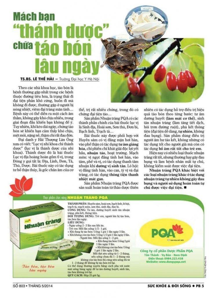 Thuốc chữa táo bón PQA Nhuận Tràng